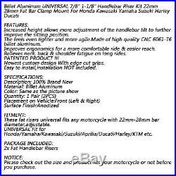 22-28mm Billet Aluminum Lenker Risers Kit Silber Universal Für Honda Ducati GER