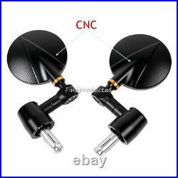 Black 3 CNC billet aluminum bar end convex mirror YAMAHA DUCATI KTM Triumph bue