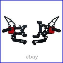 Ducati Panigale 1199 899 959 1299 Driven TT Adjustable Billet Rearsets Black/red
