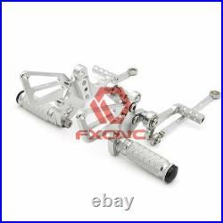 For Ducati 848 2008-2010 2009 FXCNC Footpegs Rearset Billet Silver Footpegs Pegs