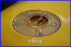 Gold Ducati 1198 848 Quick Release Quarter Turn Gas Fuel Cap CNC Billet Aluminum